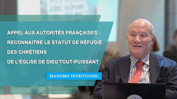 Massimo Introvigne:Appel aux autorités françaises : Reconnaitre le statut de réfugié des chrétiens de l'Église de Dieu Tout-Puissant